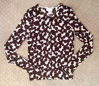 Women's Ann Taylor Loft Merino Wool Brown Beige Printed Cardigan Sweater-Size S