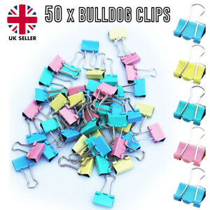 50 x Bulldog Clips Foldback 15mm Metal Binder paper Grip Assorted multi Colour