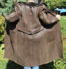 CT11 Vintage Damen Pelzmantel Lammfell Mantel Leder braun Gr. 36 ungetragen