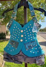 Vest Design Hobo Handbag Metallic Snake Ruffle Snake Skin Embossed Turquoise