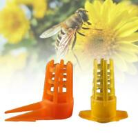40Pcs Beekeeping Tools Cell Protector Cages Yellow Plastic Bee Queen Cage Protes