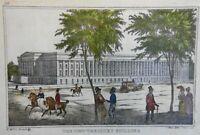 United States New Treasury Building Washington D.C. 1845 rare lithograph print