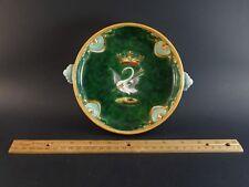 "Antique French Faience Ulysse Blois Bruneau Balon Dish Pierced Arrow Swan 7.25"""
