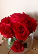 Artificial Silk Flower Arrangement Luxury Red Roses In A Large Glass Vase