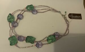 ONE BUTTON NECKLACE - COSTUME JEWELLERY   CODE N1436PLGR RRP £32