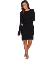 AnyBody Loungewear Cozy Knit French Terry Bateau Dress Color Black Size XS
