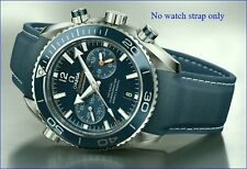 22MM RUBBER STRAP NAVY&WH & DEPLOY CLASP for 45.5mm OMEGA SEAMASTER600ProChrono