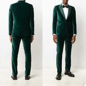 Green Velvet Men Formal Suits 2Pcs Coat Pants Sets Blazer Tuxedos Work Tailored