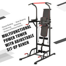 Power Tower Pull Up Bar Dip Station w Sit Up Bench Home Gym Exercise Equipment