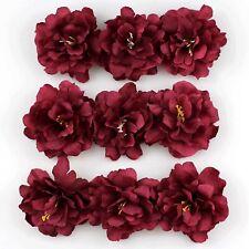 100 Fake 8cm Burgundy Peony Rose Artificial Silk flower Head Craft Wedding Decor
