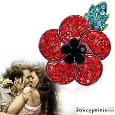 amapola Vintage broche rojo cristal flor insignia  amapo brocha oro plateado a
