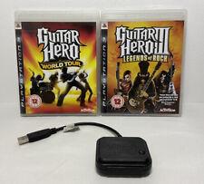 PS3 Guitar Hero Drum Dongle, Warriors of Rock & World Tour Games NO GUITAR