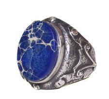 Antique Sterling silver mens ring, Jasper Natural gemstone, handmade ring