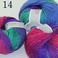 AIP Soft Cashmere Wool Colorful Rainbow Shawl DIY Hand Knitting Yarn 50grx3 14