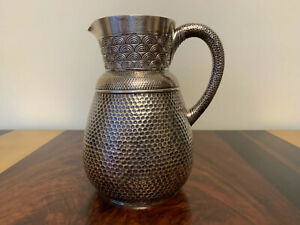 KENNARD & JENKS STERLING SILVER AESTHETIC MOVEMENT HAMMERED PITCHER 1878
