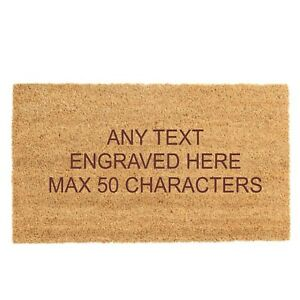 Personalised Engraved Any Text Coir Natural Non Slip Door Mat 90cm x 60cm