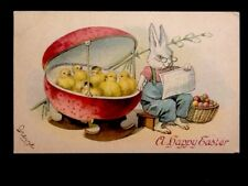 c1913 Happy Easter Greetings, Bunny Sitting With Baby Chicks Vintage DB Postcard