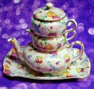 Antique Lord Nelson Chintz Stackable Tea Pot & Tray, Rose Time