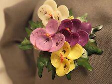 60's Pin, Flowers Made of Shells  Handmade (493)