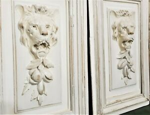 Pair roaring lion wood carving panel Antique french fruit architectural salvage