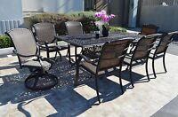 """Santa Clara Outdoor Patio 9pc Dining Set 44"""" x 84"""" Cast Aluminum Dark Bronze"""
