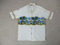 Pacific Legend Hawaiian Shirt Adult Extra Large Wite Blue Casual Camp Mens *