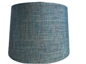 Teal Blue Drum Lamp Shade 12x9.5x14 Inch Metallic Shimmery Fabric Set Of 2