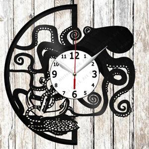 Octopus Vinyl Record Clock Handmade Home Decor Original Gift 3334