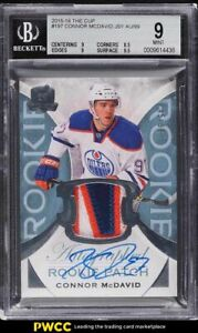 2015 The Cup Connor McDavid ROOKIE RC PATCH AUTO /99 #197 BGS 9 MINT