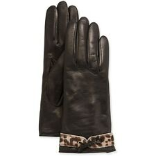 Portolano Leather Calf Hair Glove, Black/Ocelot (size 6 1/2)