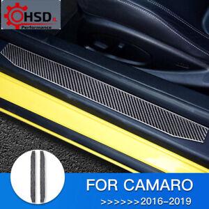 Carbon Fiber Car Door Sill Protector Guard Trim For Chevrolet Camaro 2016 - 2019