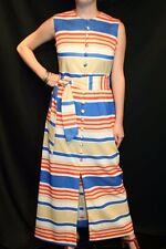 M Blue Stripe Vtg 1970s Maxi Dress Kay Windsor Split Front Belted Long Sheath