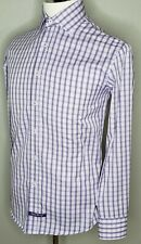English Laundry Shirt Size 15.5 34/35 Purple Plaid Cotton Button Business Attire