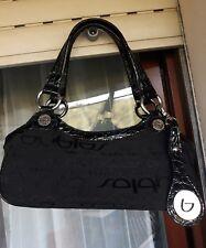 Blu Byblos borsa a spalla a mano da donna nero pelle lucida e tela con logo fad49029b15