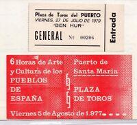 Entradas Eventos Musicales Plaza de Toros Puerto Santa Maria año 1977-79 (DW-155