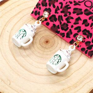 Hot Betsey Johnson White Enamel Starbucks 3D Coffee Cup Women Stand Earrings
