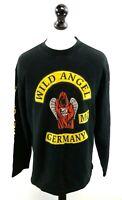 B&C WILD ANGEL GERMANY Mens Jumper Sweater XL Black Cotton & Polyester