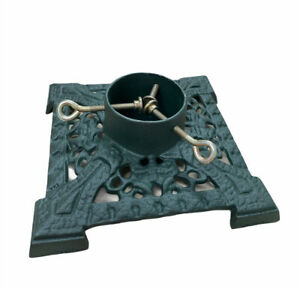 Christmas Holiday New Year Tree Stand Cast Iron Green