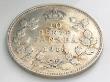 1918 Canada Ten 10 Cent Silver Dime Circulated Canadian George V Coin I353
