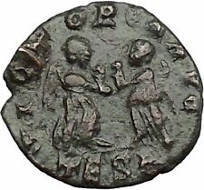 Valentinian II 383AD  Ancient Roman Coin  Two Victories w wreath  i32988