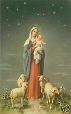VINTAGE Catholic Large holy card MARY & BABY JESUS lamb Postcard size