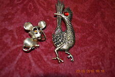 Lot 2 Vintage Signed Gold Pl Brooches - Tiny Mouse - Avon; Roadrunner J.Ritter