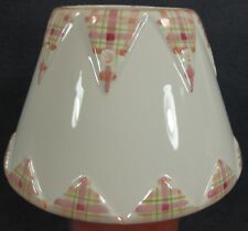Yankee Candle Large Jar Shade Pink Plaid Border Triangle Trim