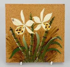 Antique Victorian Impasto/Barbotine Tile with Floral Designs c1870 - item C