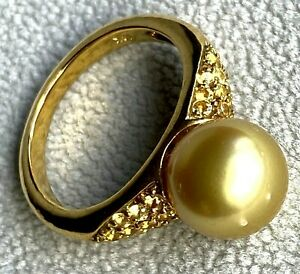 18K Gold 9.7mm Golden Saltwater Pearl Yellow Sapphire Vintage Cocktail Ring Sz 7