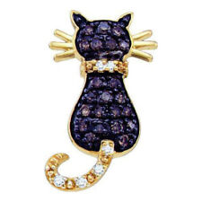 0.33 Ctw Cognac-brown Colored Natural Diamond Kitty Cat Pendant 10K . Lot 7225