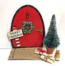 Handpainted Christmas Tree Fairy Door Set Santa Elves Elf Pixie - Personalised