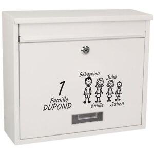 Sticker Boite aux Lettres -- Modèle Famille  -- Papa - Maman - Enfants