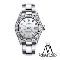 Women's 36mm Rolex SS Oyster Perpetual Datejust Custom White MOP Diamonds Dial