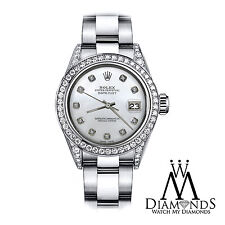 Women's 36mm Rolex SS Oyster Perpetual Datejust Custom White MOP Diamonds Dial